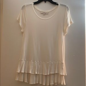 Loft Cream Ruffled T-Shirt